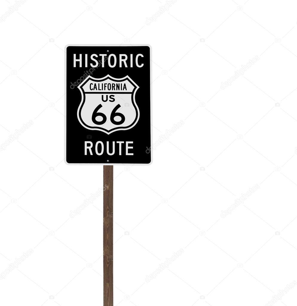 Tall isolated historic route 66 sign on a wood post. — Stock Photo #10192077
