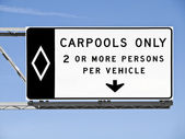 Overhead Freeway Carpool Only Sign With Blue Sky — Stock Photo