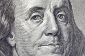Ben Franklin Macro Close Up $100 Bill — Stock Photo
