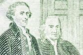 Thomas Jefferson and Benjamin Franklin Macro Close Up US Two Dol — Stock Photo