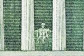 Lincoln Memorial Macro Back of US Five Dollar Bill — Stock Photo
