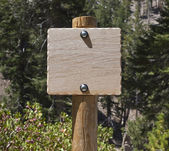New Wood Trail Sign Blanked Out — Stock Photo