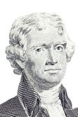 Isolated Macro of Thomas Jefferson on the US two dollar bill. — Stock Photo