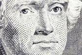Macro of Thomas Jefferson on the US two dollar bill. — Stock Photo