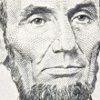 Honest Abe Lincoln Macro Close Up US Five Dollar Bill — Stock Photo