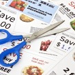 Fake coupons with Scissors — Stockfoto