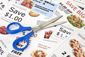 Fake coupons with Scissors — Stock Photo