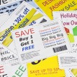 Foto Stock: Fake Fashion Coupon Clippings Background