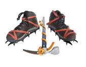 Vintage Crampons and Ice Axe. — Stock Photo