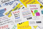 Fake Fashion Coupon Clippings Background — Stock Photo