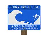 Tsunami Warning Zone Sign — Stock Photo
