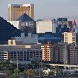 Luxor, MGM and The Hotel in Las Vegas - Stock Photo