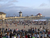Huntington Beach California Summer Crowds — Stock Photo