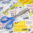 Stok fotoğraf: Completely Fake Fashion Coupons with Scissors