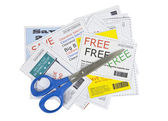 Completely Fake Fashion Coupons with Scissors — Stock Photo
