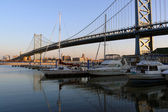 Ben Franklin Bridge at Dusk — Foto Stock