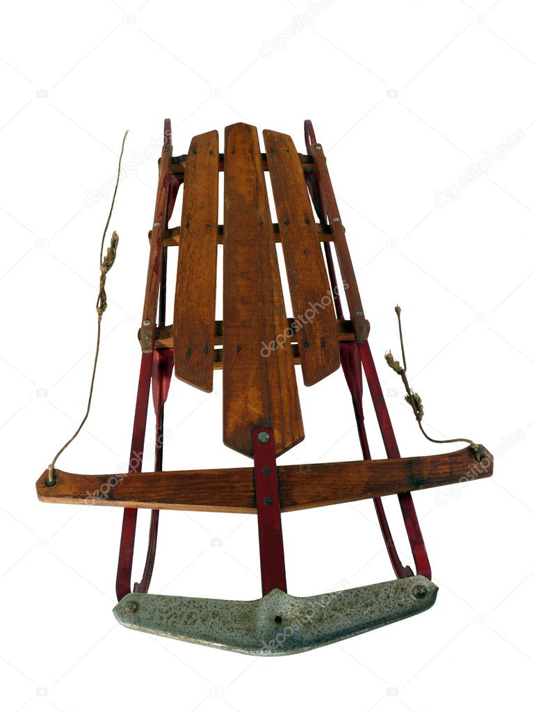 Vintage snow sled from the 1940's with white background. — Stock Photo #8002095