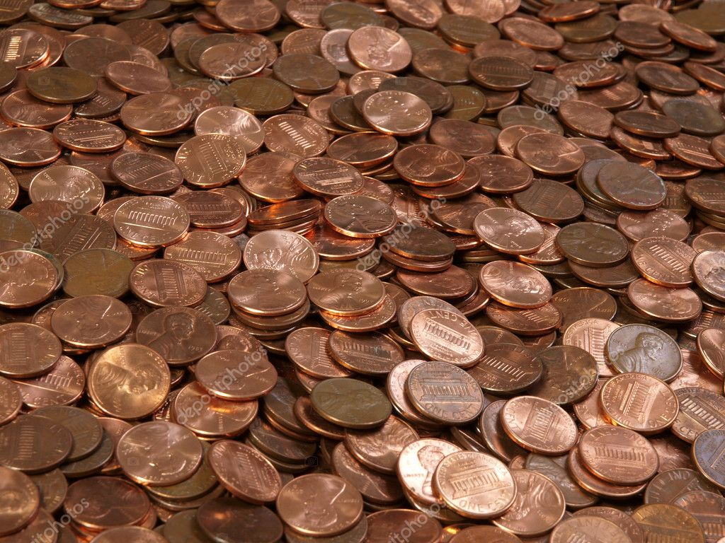 Large pile of shinny American Lincoln pennies. — Stock Photo #8006696