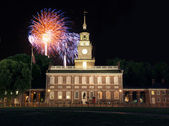 Independence Hall Fireworks — Stock Photo