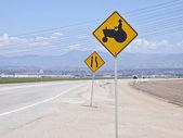Farm Tractor Caution Sign — Stock Photo