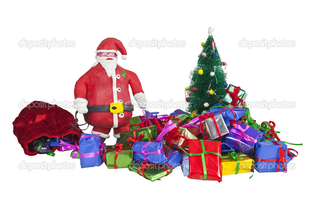 Clay Santa Figurine with piles of Miniature Gifts. — Stock Photo #8073700