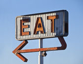 Retro Neon Eat Sign Ruin — Stock Photo