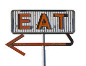 Vintage Arrow Eat Sign Isolated — Stock Photo
