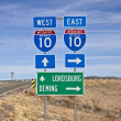 Interstate Highway 10 sign in the vast Southern New Mexico desert. — Stock Photo