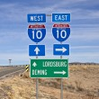 Stock Photo: Interstate Highway 10 sign in vast Southern New Mexico desert.