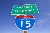 California Interstate 15 Freeway Entrance Sign — Stock Photo