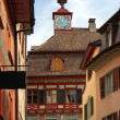 Stock Photo: Painted facade of historic building in Swiss city Stein an