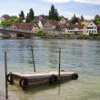 Mooring for boats on the river Rhine. Stein Am Rhein. Switzerlan - Stock Photo
