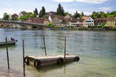 Mooring for boats on the river Rhine. Stein Am Rhein. Switzerlan — Stock Photo