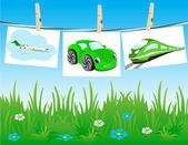Formy dopravy na prádelní šňůru. — Stock vektor