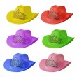 Set of multi-colored cowboy hat isolated on white background. — Stock Photo #8064511