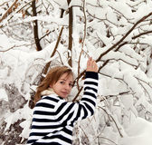 Young girl in winter — Stock Photo