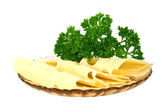 Cheese with a sprig of parsley Isolated on white background. — Stock Photo