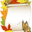 Stock Vector: Butterfly pattern with autumn leaves