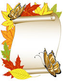Butterfly pattern with autumn leaves — Stockvektor