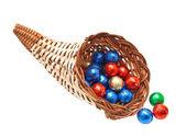Cornucopia of chocolate balls isolated on white background — Stock Photo