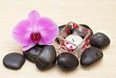 Rosa orquídea y zen piedras con una vela — Foto de Stock