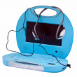 Portable DVD player with headphones, isolated on a white background. — Stock Photo #8457273