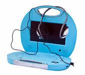 Przenośny odtwarzacz dvd z słuchawki, na białym tle na białym tle. — Zdjęcie stockowe