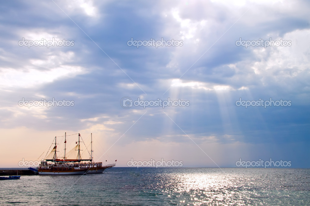 Yacht in the sun.  Stock Photo #8458101