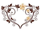 Opengewerkte hart van een bloemenpatroon — Stockvector