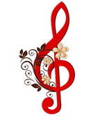 Treble clef with a flower pattern — Wektor stockowy