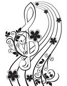 Musical background with a treble clef and a flower pattern — Stock Vector