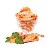 Krevety v skleněná kompotová izolovaných na bílém pozadí — Stock fotografie
