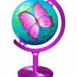 Globe with the image of a butterfly. — Stock Vector