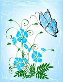 Bouquet of blue flowers. — Vector de stock
